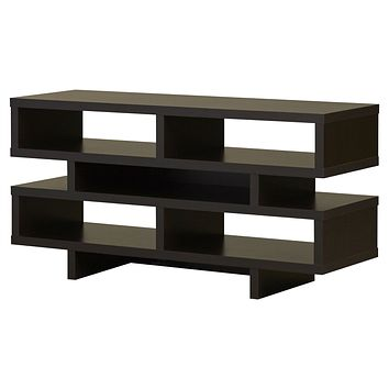 Modern TV Stand Entertainment Center in Dark Brown Cappuccino Wood Finish
