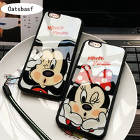 Oatsbasf Luxury Fashion Mickey Minnie mirror Case Cover For iPhone 5s 5se 6 6s plus Clear Fit couple For iPhone 7 7plus Case