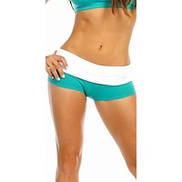 Sexy Balance Roll Down Top Athletic Yoga Hot Pants in Teal
