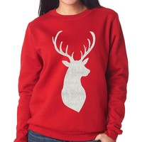 Red & Silver Sparkle Reindeer Sweater