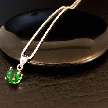 Sterling Silver Emerald Necklace, Emerald Cubic Zirconia Pendant Necklace, May Birthstone, Green Stone Pendant, Simple Green Necklace