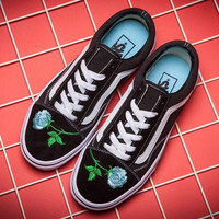 Trendsetter VANS Canvas Old Skool Flower Embroidery Flats Sneakers Sport Shoes