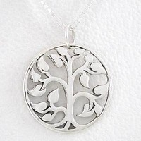 """Round Cut Out Design Tree of Life Pendant in Sterling Silver on an 18"""" Box Chain, #8458"""