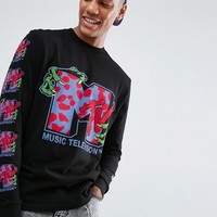 ASOS x MTV Long Sleeve T-Shirt With Sleeve And Body Print at asos.com