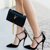 2017 New Summer Style women's Lace Up high heels  Pointed Toe Bandage Stiletto sandals celebrity ladies shoes Pumps Black 35-40