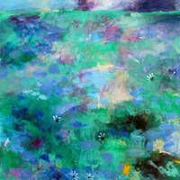 """Large Abstract Acrylic Landscape, Original Artwork, Painting on Canvas, Blue, Green, """"Meadow Storm"""" 30x40"""
