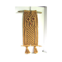 Vintage Owl Art Wall Hanging 1970 Textile