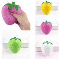 Artificial Squishy Strawberry Shape Cream Scented Slow Rising Relieves Stress Toy for Children Adults Anxiety Attention