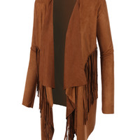 LE3NO Womens Boho Shawl Collar Suede Jacket with Fringe (CLEARANCE)