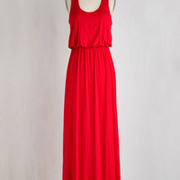Minimal Long Tank top (2 thick straps) Maxi Breezy Night Stroll Dress in Red by ModCloth