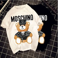 Moschino cartoon letter leather bear couple men and women models cotton tee summer tide brand short sleeve t-shirt tide
