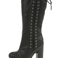 Black Side Lace Up Chunky Lug Sole Knee Vegan Women's Boots