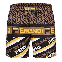 Fendi Beach Shorts Contrast F print Coffee yellow