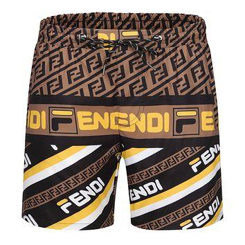 Onewel Fendi Beach Shorts Contrast F print Coffee yellow