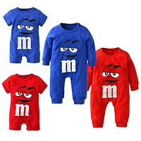 baby boys girls clothes newborn blue and red Long sleeve Cartoon printing Jumpsuit Infant clothing set