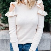 White Ruffle Cold Shoulder Long Sleeve Top