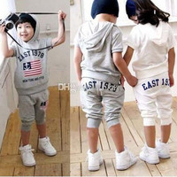 Baby suits girls boys east 1978 short sleeve hoodies pants 2pcs clothing set childrens grey and white summer clothes suits.
