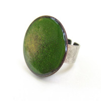 Statement cocktail ring green emerald black yellow enamel adjustable artisan autumn fashion by Alery