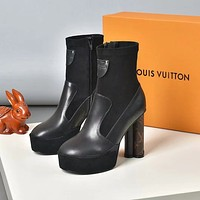lv louis vuitton trending womens black leather side zip lace up ankle boots shoes high boots 152