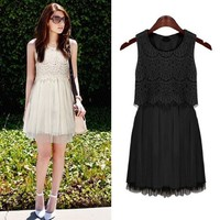 ZLCY Fashion Ladies Sleeveless Lace Chiffon Dress for Women