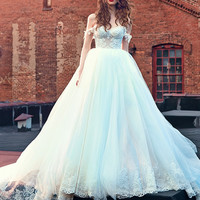 vestido de noiva  Spring 2017 Bridal Dresses Off-the-shoulder Sweetheart Lace Bodice Lace Appliques Ball Gown Wedding Dreses