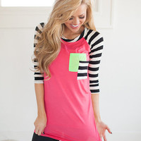 Curious Top with Green Pocket in Pink