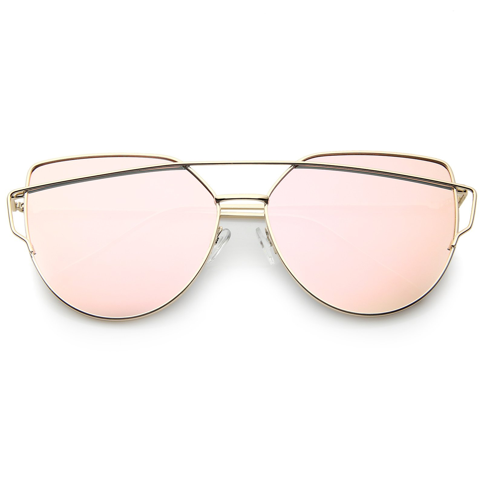 Image of Oversize Thin Cross Brow Mirrored Flat Lens Sunglasses A545