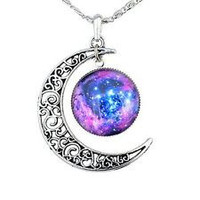 Crescent Moon Necklace, moon Galaxy, Glass Cabochon Pendant, Moon Choker,Crescent Moon Jewelry Unisex,Necklace Moon Jewelry, Men Women Girls