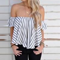 New  Summers Women Off Shoulder Stripe Casual Blouse Shirt Tops