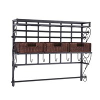 Southern Enterprises HZ6245 Black Wall Mounted Craft Storage Rack with Baskets