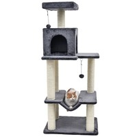 Fashion Desgin H141cm Cat Toy Climbing Solid Furniture Kitten Playing 2 Balls Fun Cat Scratching Solid Wood for Cat House Frame