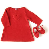 A delicious red garter stitch dress by tenderblue on Etsy