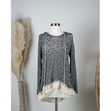 Two Tone Lightweight Boho Pull Over Sweater Tunic Hoodie with Lace Hem in Grey