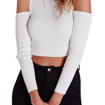 White Off-the-Shoulder Ribbed Sweater
