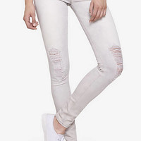 Light Gray Mid Rise Destroyed Jean Legging from EXPRESS
