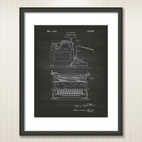 Typewriter Screen 1923 Patent Art Illustration - Drawing - Printable INSTANT DOWNLOAD - Get 5 colors background
