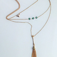 Golden Geo And Chain Tassle Pendant Multirow Necklace