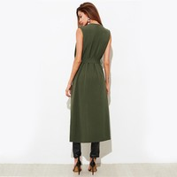 Casual Sleeveless Long Vest With Belt