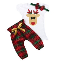 Girls Christmas Reindeer Outfit | Green and Red Plaid High Waisted Pants Christmas Outfit | Toddler and Baby Girls Christmas Outfit