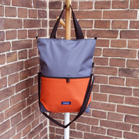 Large fold over canvas tote bag shopping bag casual fold over tote vegan school bag waterproof cordura gray and orange book bag variable