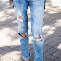 Distressed Boyfriend Jeans (10/18) – Ily Couture