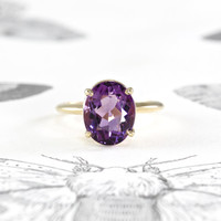 Vintage Amethyst Solitaire Ring, 14k Yellow Gold Retro Mid Century Modern Space Age Cocktail Ring, Alternative Engagement, Circa 1960