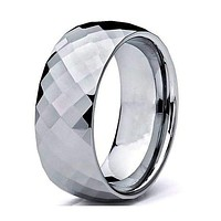 Mens Domed Carbide Tungsten Wedding Ring Diamond Faceted - 8mm