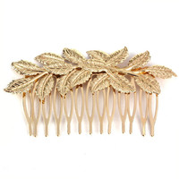Best Deal Hot Fashion New Gold Punk Women Girls Golden Leaf Hair Comb Hair Clip Headband Jewelry for Women Lady Perfect Gift 1PC