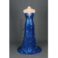 royal blue sequins prom dresses sparkly,elegant women dress for pageant party,cheap floor length evening gowns hot.