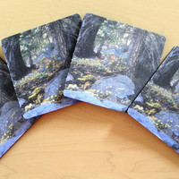 DRINK COASTERS, Barware, Forest Photo, Beverage Accessory, Home, Dorm, Office Decor, 4-piece set