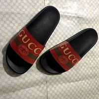 GUCCI classic printed letters men's and women's slippers shoes