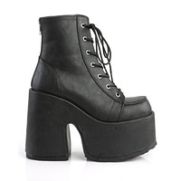 Demonia Black Vegan Leather Lace-Up Ankle Boot