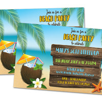 Beach Party Birthday Invitations
