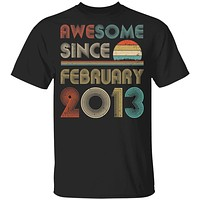Awesome Since February 2013 Vintage 7th Birthday Gifts Youth